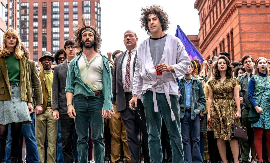 Sacha Baron Cohen and Jeremy Strong as Abbie Hoffman and Jerry Rubin in Trial of the Chicago 7