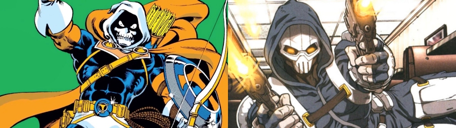 The Taskmaster in his classic and 2000s looks