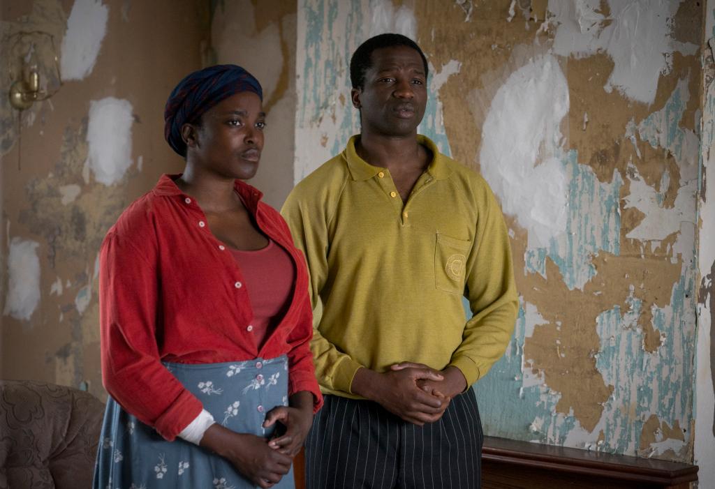 Wumi Mosaku and Sope Dirisu in Netflix's His House